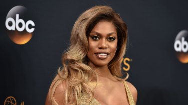 Laverne Cox arrives at the 68th Primetime Emmy Awards in 2016, the first transgender woman to be nominated for an acting Emmy.