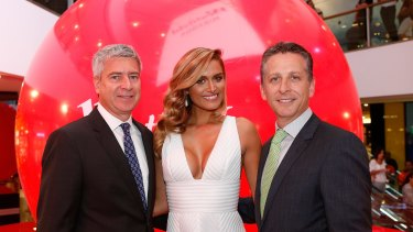 Scentre Group CEO Peter Allen, and model Cheyenne Tozzi at the opening of Westfield Shopping Mall in Miranda, Sydney.