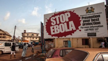 An Ebola awareness banner in Freetown, Sierra Leone.