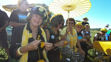The Knitting Nannas are a fixture of CSG protests.