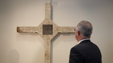 Prime Minister Malcolm Turnbull during the unveiling of the Long Tan Cross at the Australian War Memorial in Canberra.
