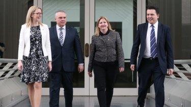 The Nick Xenophon Team's Senator Skye Kakoschke-Moore, Senator Stirling Griff, Rebekha Sharkie MP and Senator Nick Xenophon.