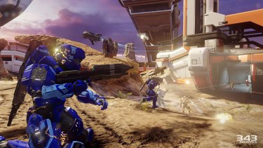 Attacking an enemy-held base in Warzone, which plays out like Halo meets MOBA.