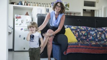 Solicitor and reformed drug user, Edwina Lloyd, the Labor candidate for the state seat of Sydney, at her Potts Point home with her son, Ryder, 20 months.