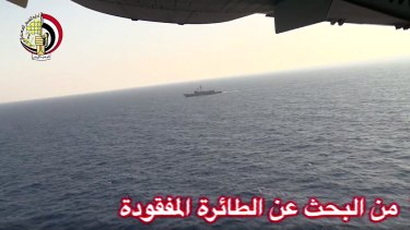 "An Egyptian plane and ship search in the Mediterranean, where wreckage was found on Friday. Arabic in lower right reads ""from the search for the missing plane."""
