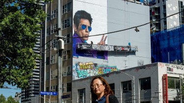 A hand-painted mural to promote Zoolander 2 on La Trobe Street in Melbourne.