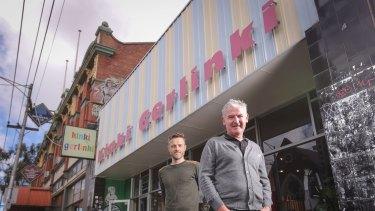 Architect Andrew Maynard (left) and Kinki Gerlinki owner Anthony Patton in Sydney Road, Brunswick.