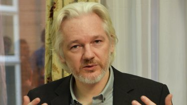 Julian Assange at a news conference in the Ecuadorian embassy in 2014.