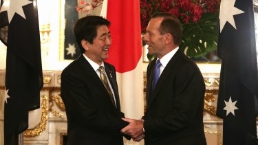 Prime minister Tony Abbott meets with Japanese Prime Minister Shinzo Abe at the State Guest House in Tokyo during his visit to Japan in April 2014.
