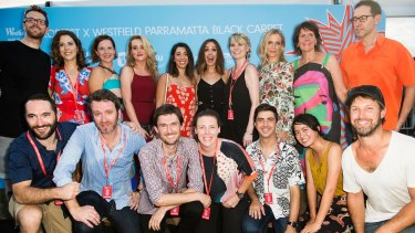 Head judge Rose Byrne poses with the film makers at Tropfest.