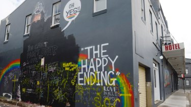 Marsh's mural of Tony Abbott and Cardinal George Pell on King Street in Newtown was also defaced.