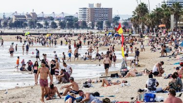 Melburnians flocked to the beach on Saturday.