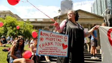 Staff at the Royal Children's Hospital were the toast of the Stand Up For Refugees Rally in Melbourne on Sunday.