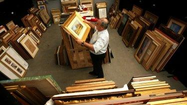 Artworks stored in one of Bonhams & Goodman's auction houses.