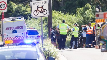 The scene of the fatality at Glenhaven Road, Kellyville on Sunday morning.