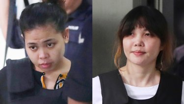 Siti Aisyah (left) and Doan Thi Huong are facing trial for the assassination of Kim Jong-nam.