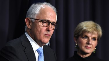 Prime Minister Malcolm Turnbull and Foreign Minister Julie Bishop. Perennial deputy Julie Bishop's closeness to Turnbull is seen as the flipside of her distance from his predecessor.