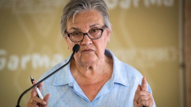 Referendum Council co-chair Pat Anderson delivers a speech at the Garma Festival in northeast Arnhem Land, Northern Territory, Saturday, August 5, 2017. Credit- Peter Eve
