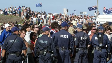 "Gangs of youths gathered at North Cronulla Beach in 2005 to ""take back the beach""."