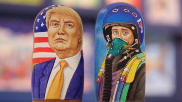 Russian dolls showing Donald Trump and Vladimir Putin in a Moscow shop.