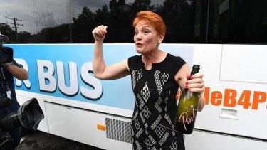 One Nation leader Pauline Hanson and her Battler Bus in Brisbane on Monday.