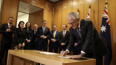 Prime Minister Malcolm Turnbull with Premiers and Chief Ministers at the national security COAG on Thursday.