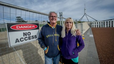 Geoffrey Robinson and Barbara Aurand of Florida at Parliament House.