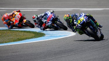 Valentino Rossi leads Jorge Lorenzo and Marc Marquez during the race.