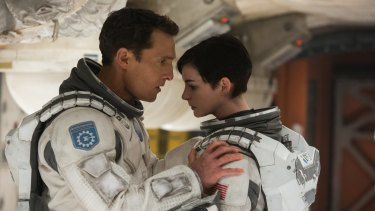 Pilots: <i>Interstellar's</i> spaceships were built as full scale models to aid the actors, led by Matthew McConaughey and Anne Hathaway.