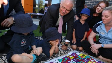 Prime Minister Malcolm Turnbull and Minister Christopher Pyne visited Mother Teresa Early Learning Centre in Canberra on Monday.