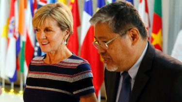 Foreign Minister Julie Bishop with acting Philippine Foreign Affairs Secretary Enrique Manalo in Manila last Thursday.