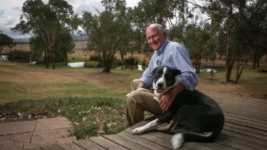 Tony Windsor and his dog Mack, at his home in Werris Creek.