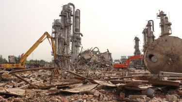 Beijing Oriental Petrochemical Plant is demolished on September 27, 2017, as part of a pollution crackdown.