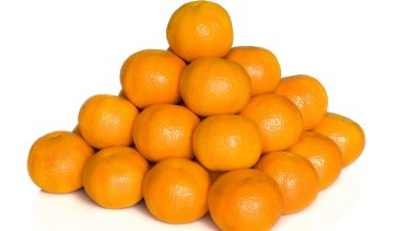 The most efficient way to stack spheres is similar to this pile of tangerines.