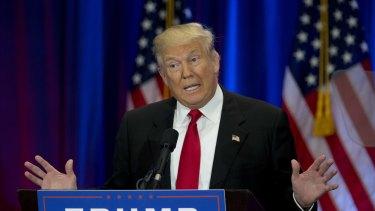 Republican presidential candidate Donald Trump speaks in New York.