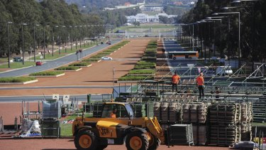 Preparations for 2016's Anzac Day are well underway in Canberra. Grandstands are being erected on the parade ground in front of the Australian War Memorial.
