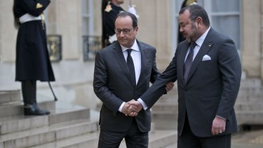French President Francois Hollande (left) meets Morocco's King Mohammed VI a week after the Paris terror attacks.