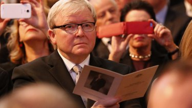 Kevin Rudd, the only former Labor PM, not to receive a standing ovation.