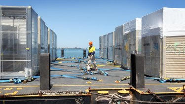 A barge loaded with accomodation units for fly-in, fly-out workers, bound for Chevron's Gorgon project at Barrow Island.