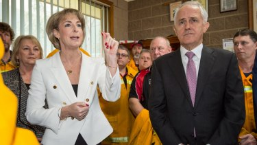 Employment Minister Michaelia Cash and Prime Minister Malcolm Turnbull at the Coldstream on Monday.