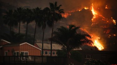 A wildfire threatens homes as it burns along a hillside in La Conchita, California.