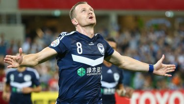 Transfer target: Besart Berisha celebrates another goal for Victory.