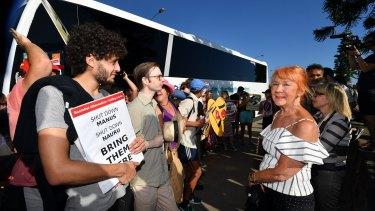 Anti-racist activists and Q Society supporters at St Kilda Marina.