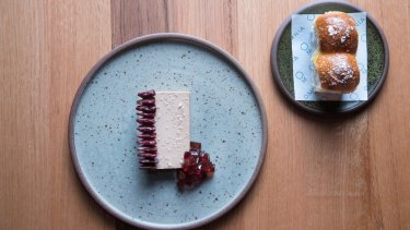 Duck parfait with preserved cherries and parker house rolls.