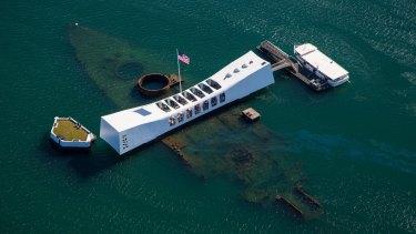 USS Arizona Memorial at Pearl Harbour, Oahu, Hawaii.