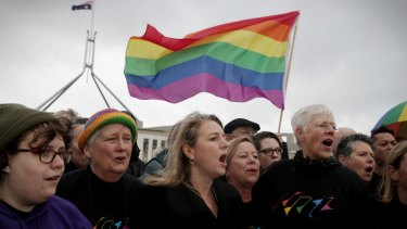 Same-sex marriage supporters outside Parliament House.