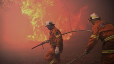 Members of the NSW Rural Fire Service fight a blaze at Londonderry in November.