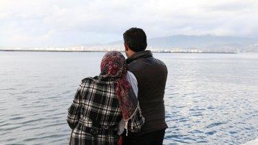 Syrians Um Muaad, 18 and her husband Abu Muaad, 30, in Izmir, Turkey, hoping to cross the Aegean Sea to Greece.