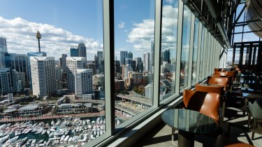 Bars and restaurants have views of Darling Harbour and across the water to the CBD skyline.