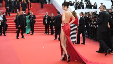Underwhere? Bella Hadid attends The Unknown Girl premiere at Cannes.